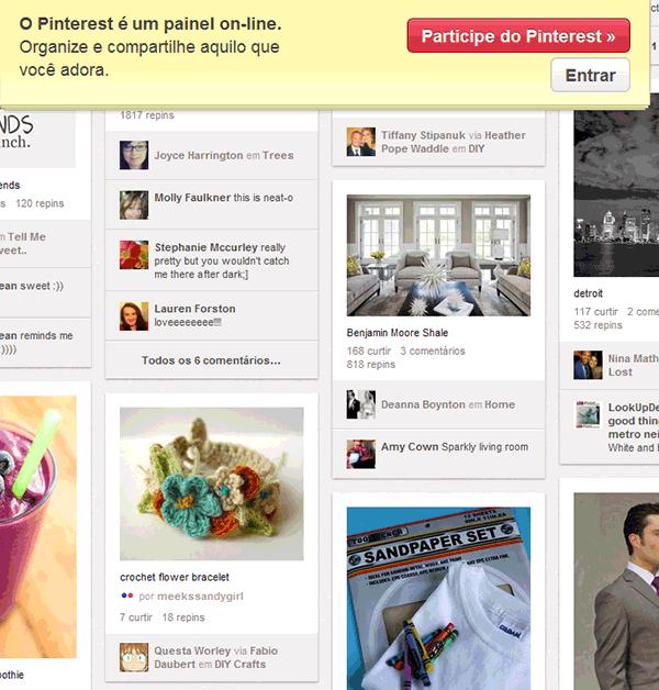 Desenvolvimento de website com integração com o Pinterest