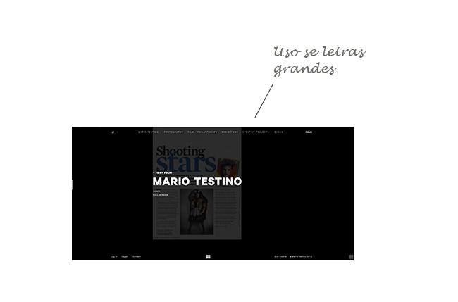 web design com uso de fontes em tamanho grande