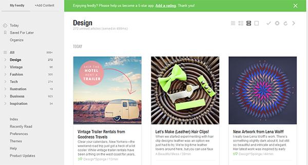 página web do serviço do Feedly de acompanhamento de sites e blogs