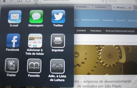 adicionar website a tela de inicio do ipad
