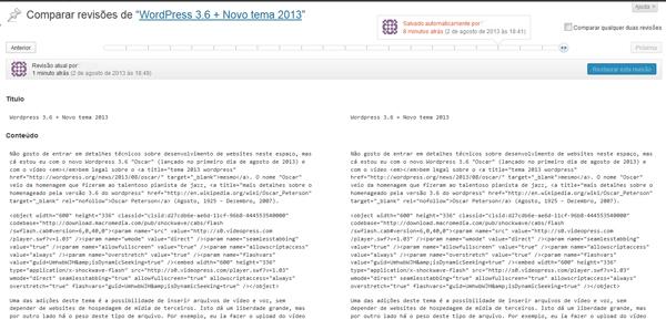 revisões wordpress