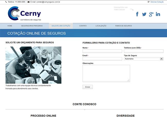 Portfolio de website da Brinomi Web Design - página e contato da Cerny Seguros